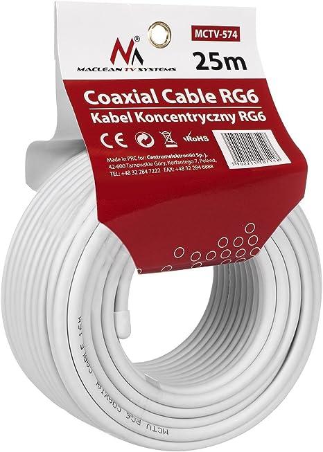 TALLA 25 m. Maclean MCTV-574 - Cable coaxial de antena (25 m, RG6 1.0CSS, SAT)
