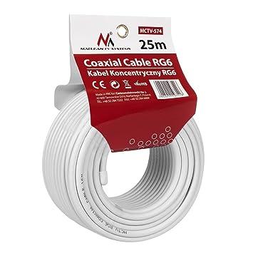Maclean MCTV de 574 – Antena parabólica Cable 25 m Cable coaxial RG6 1.0 CSS Sat Cable