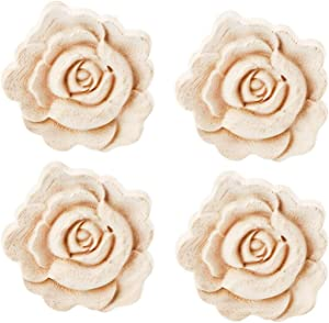 LXYUUM 4PCS Wooden Carved Onlay Appliques Rose Wood Carving Decal Unpainted Furniture Bed Door Cabinet Decor