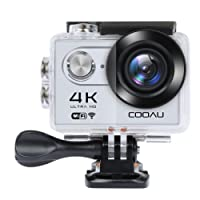 4K Action Cam COOAU Sport Action Camera impermeabile Full HD WIFI 12MP 170 ° Wide Angle 2.0 Inch LCD Screen with 1050mAh batteria and Accessories kits