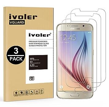 iVoler [3 Unidades Protector de Pantalla Compatible con Samsung Galaxy S6, Cristal Vidrio Templado Premium [Dureza 9H] [Anti-Arañazos] [Sin Burbujas]: ...