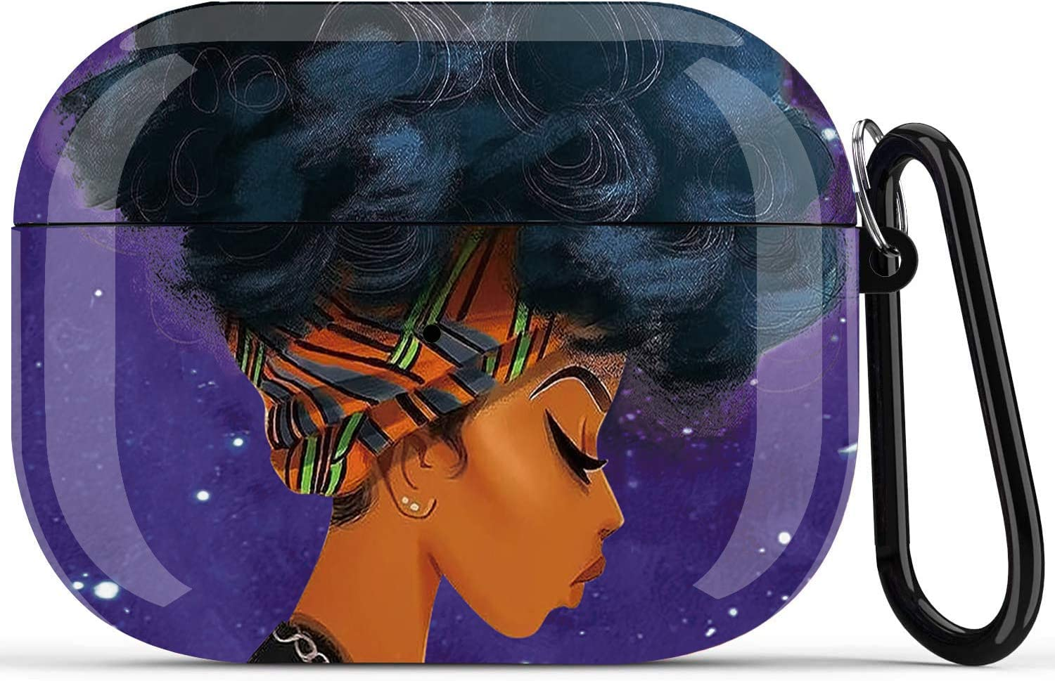 African American Girl Airpods Pro Case Cover, Black Girl Airpods Accessories Compatible with Apple Airpods Pro,Shockproof Protective Case Cover for Girls Women with Keychain - Blue Wrap Girl