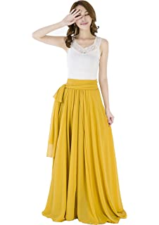 1a3eb27d7dee Sinreefsy Summer Chiffon High Waist Pleated Big Hem Floor/Ankle Length  Beach Maxi Skirt for