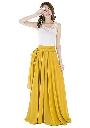 ae15ffb95a138a Sinreefsy Women Summer Chiffon High Waist Pleated Big Hem Full/Ankle Length  Beach Maxi Skirt