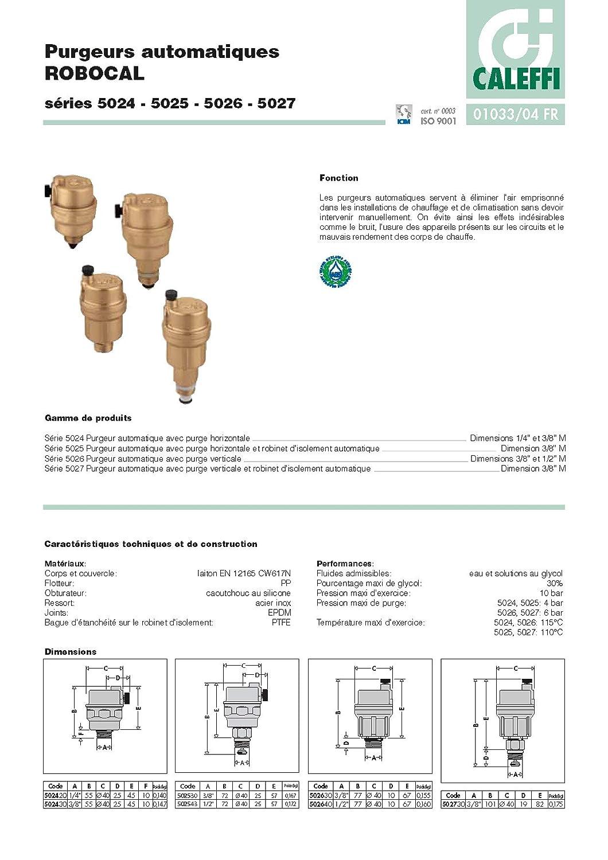 Caleffi 502543 ROBOCAL V/álvula Autom/ática de Purga de Aire 1//2 M en Lat/ón Estampado con Grifo de Corte Autom/ático Descarga Horizontal