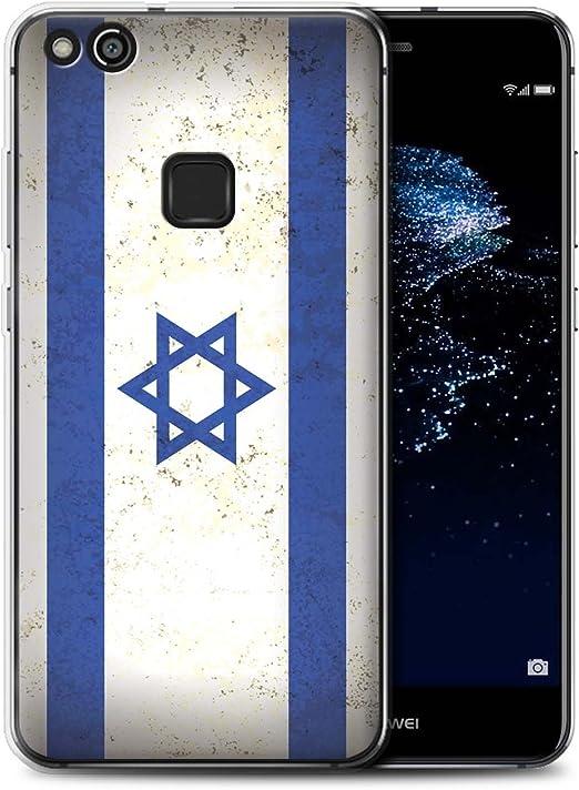 Phone Case for Huawei P10 Lite Asian Flag Israel/Israeli Design Transparent Clear Ultra Soft Flexi Silicone Gel/TPU Bumper Cover