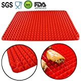 Silicone Baking Mat Red Pyramid Surface Pan Non-stick Crisper Rolling Pad Heat Resistant Healthy Cooking Tray Fat Reducing Toaster Oven Liner Cookie Sheet Bakeware Set 16X11.5 Inches by Zibpros