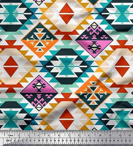 Soimoi Azul popelina de algodon Tela azteca kilim tela estampada de por metro 56 Pulgadas de ancho: Amazon.es: Hogar