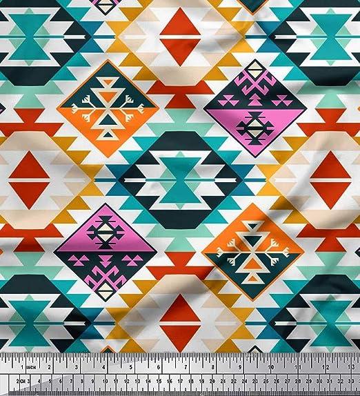 Soimoi Azul popelina de algodon Tela azteca kilim tela estampada ...