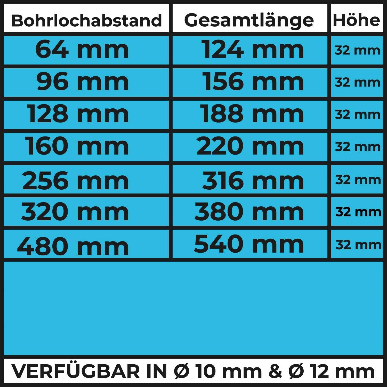 1 Griff 256mm STAHLIA/® M/öbelgriff CHROM HOCHGLANZ MASSIV Stangengriff /Ø12mm K/üche Schrank Wohnzimmer