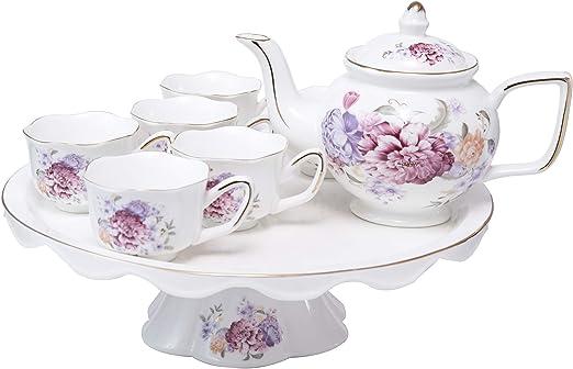 ufengke Europeo Juego de Té de Porcelana, Una Cafetera, 6 Tazas de ...
