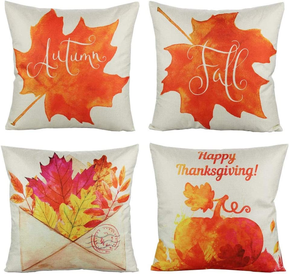 VAKADO Thanksgiving Fall Throw Pillow Covers Cases Pumpkin Autumn Maple Leaves Festival Harvest Decorative Cushion Outdoor Home Decor Decorations for Couch Sofa 18x18 Set of 4