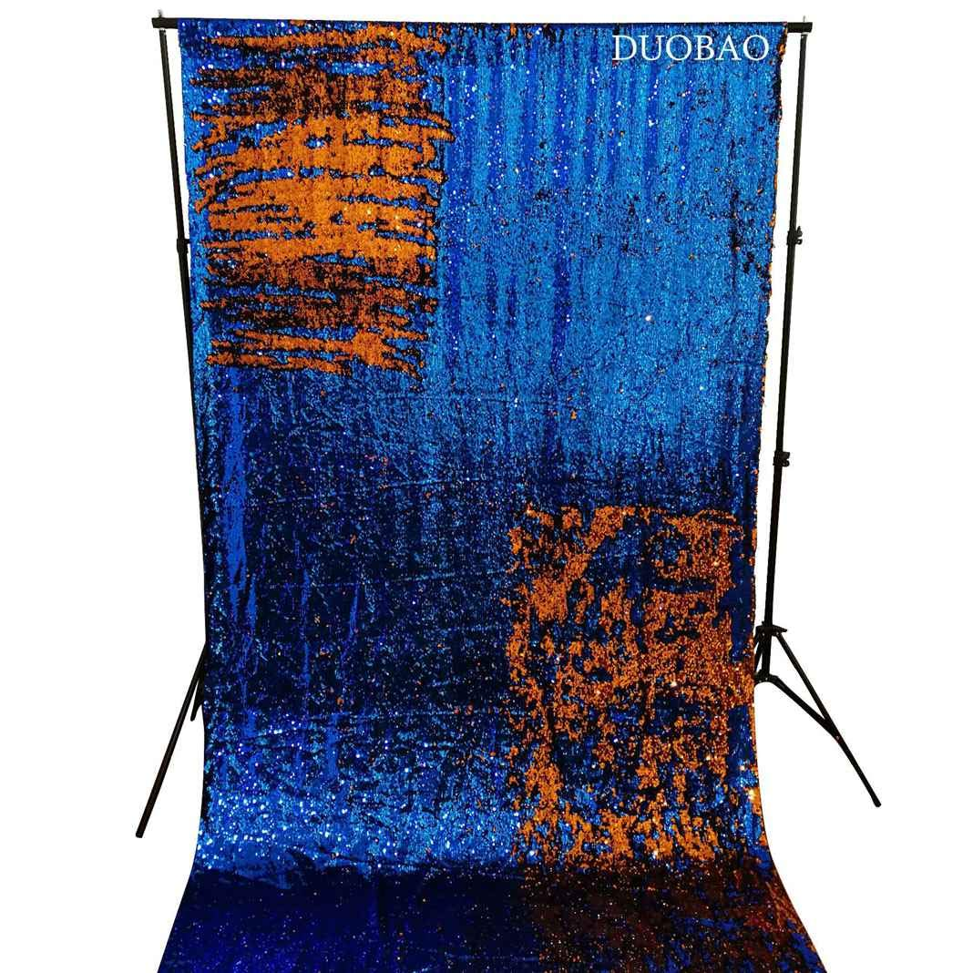 DUOBAO Sequin Backdrop 8Ft Royal Blue to Orange Mermaid Sequin Backdrop Fabric 6FTx8FT Two Tone Sequin Curtains