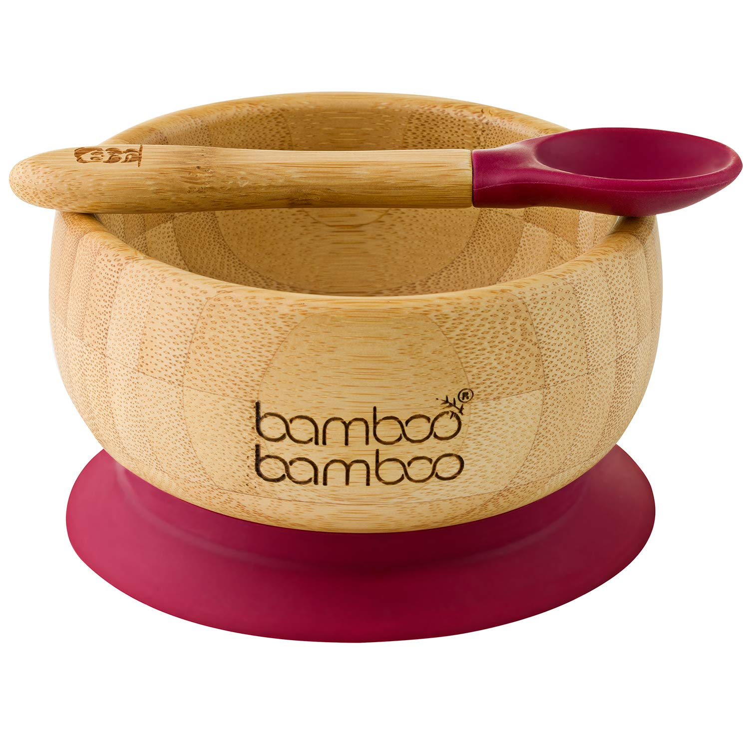 bamboo bamboo ® Baby Suction Bowls and Matching Spoon Set, Stay Put Feeding Bowl, Natural (Cherry)