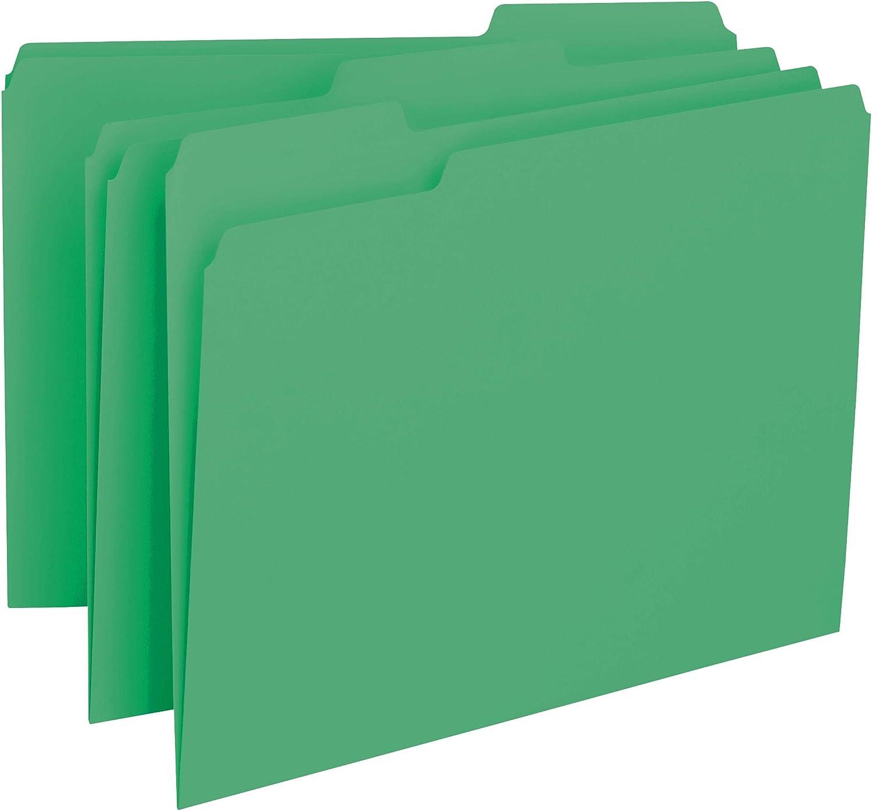 Smead Interior File Folder, 1/3-Cut Tab, Letter Size, Green, 100 per Box (10247)