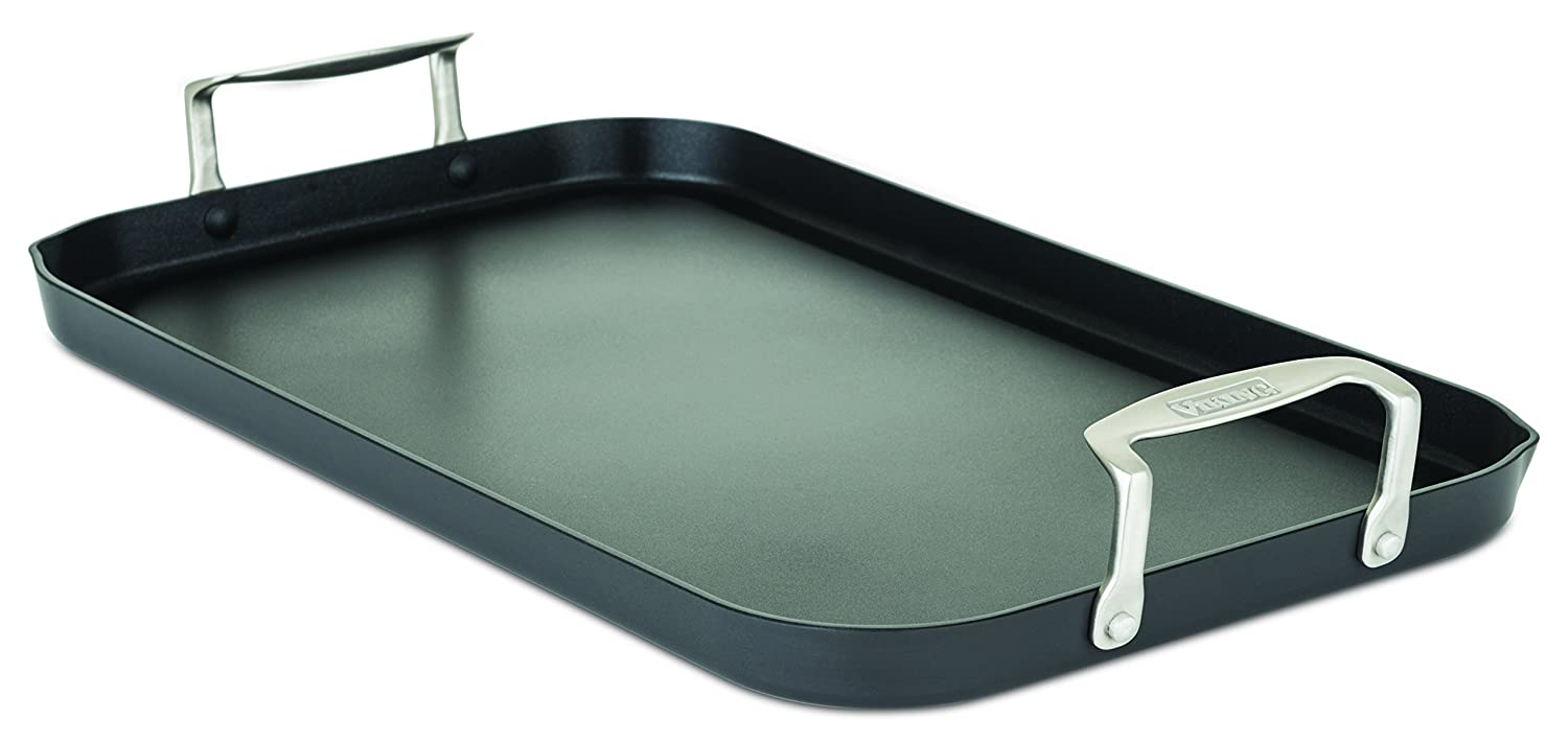 Viking 40051-1218 Hard Anodized Nonstick Double Burner Griddle, 18 Inch by 11 Inch, Gray