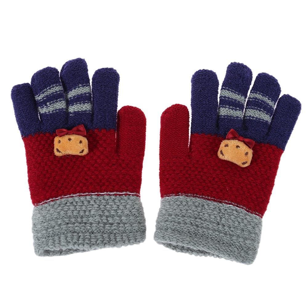 Domybest Winter Baby Kids Finger Gloves Warm Knitted Stretch Mittens Hands Warmer