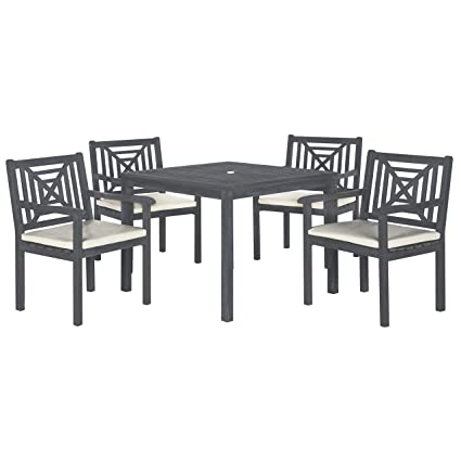 Miraculous Safavieh Outdoor Living Collection Del Mar 5 Piece Dining Set Ash Grey Pdpeps Interior Chair Design Pdpepsorg