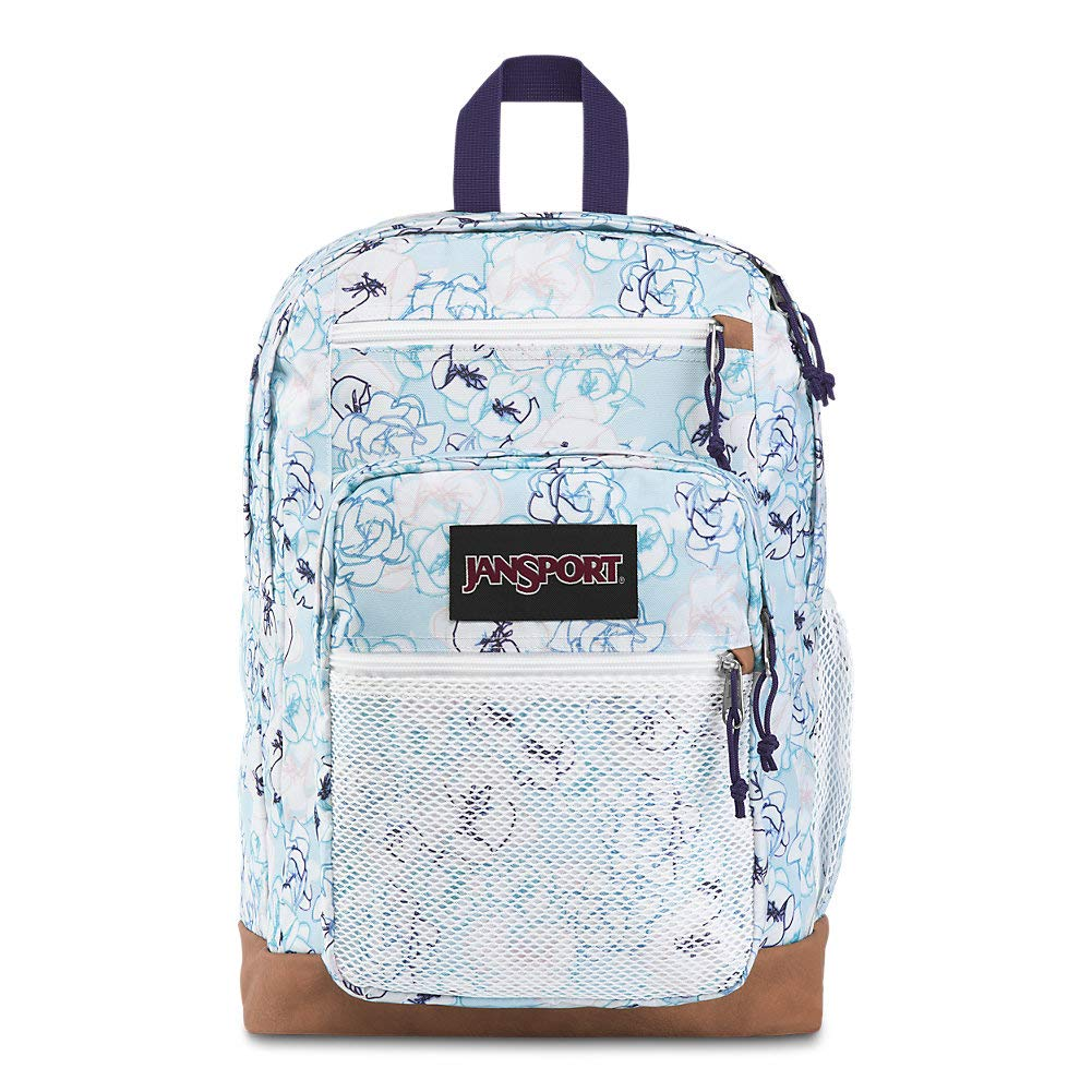 JanSport Huntington Backpack - Lightweight Laptop Bag | Blue Sketch Floral