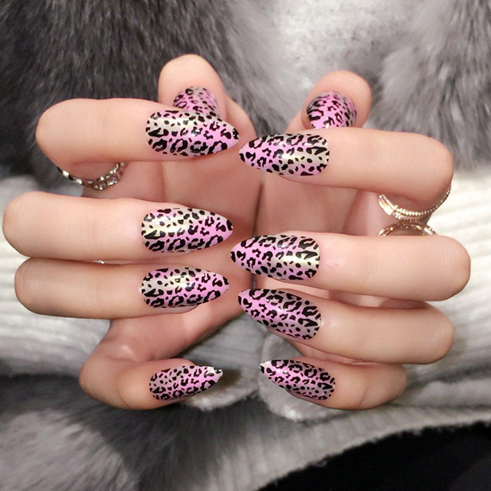 Amazon com : enForten Black Leopard Purple Stiletto Sharp