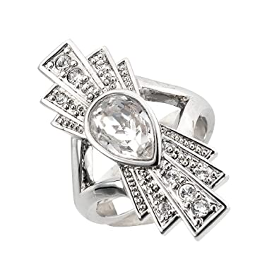 5544fae10 Cristalina Gatsby Art Deco Double Fan Swarovski Crystal Ring - Size N:  Amazon.co.uk: Jewellery