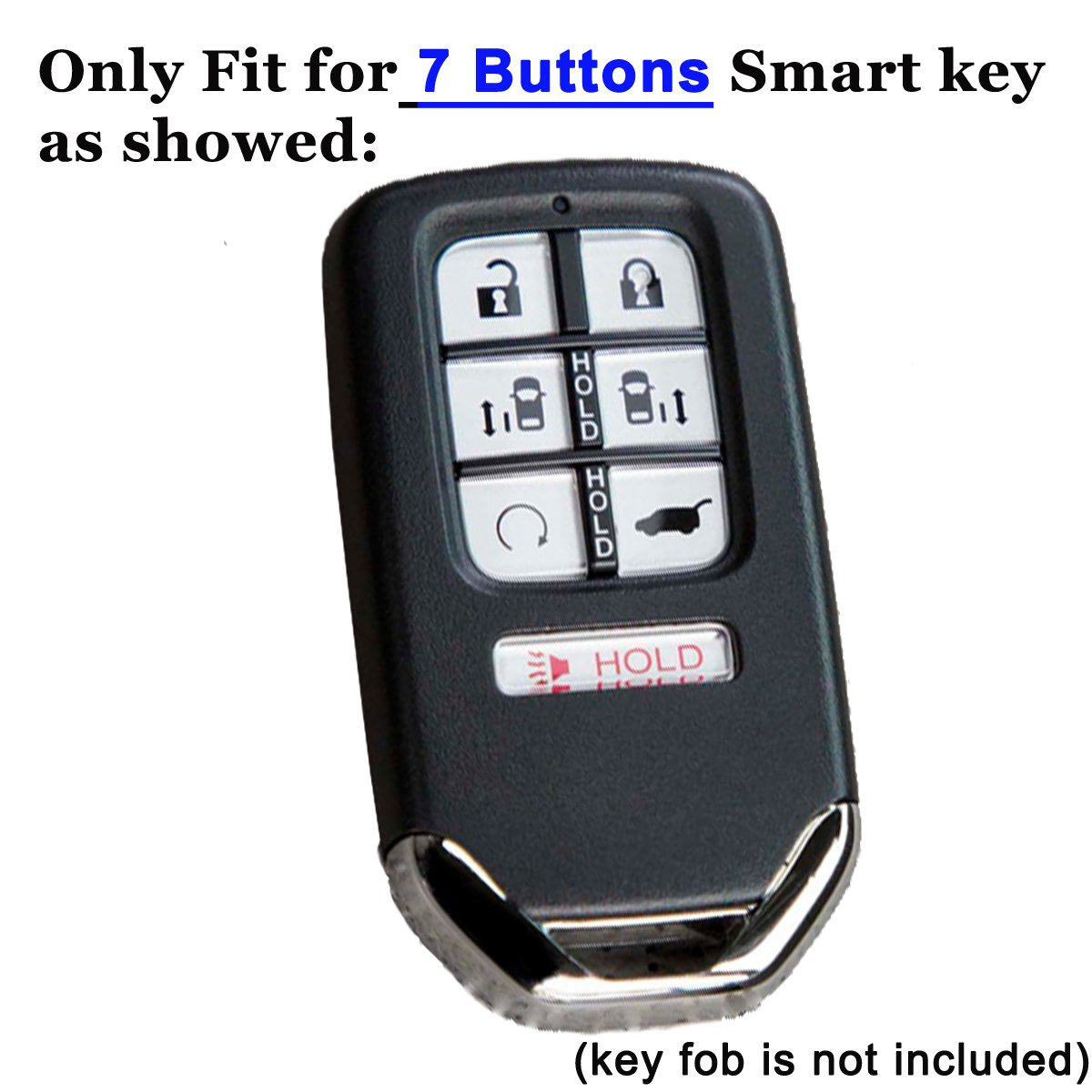 2Pcs Coolbestda Rubber Smart 7 Buttons Key Fob Remote Cover Protector Keyless Entry Holder for 2018 Honda Odyssey elite ex by Coolbestda (Image #2)