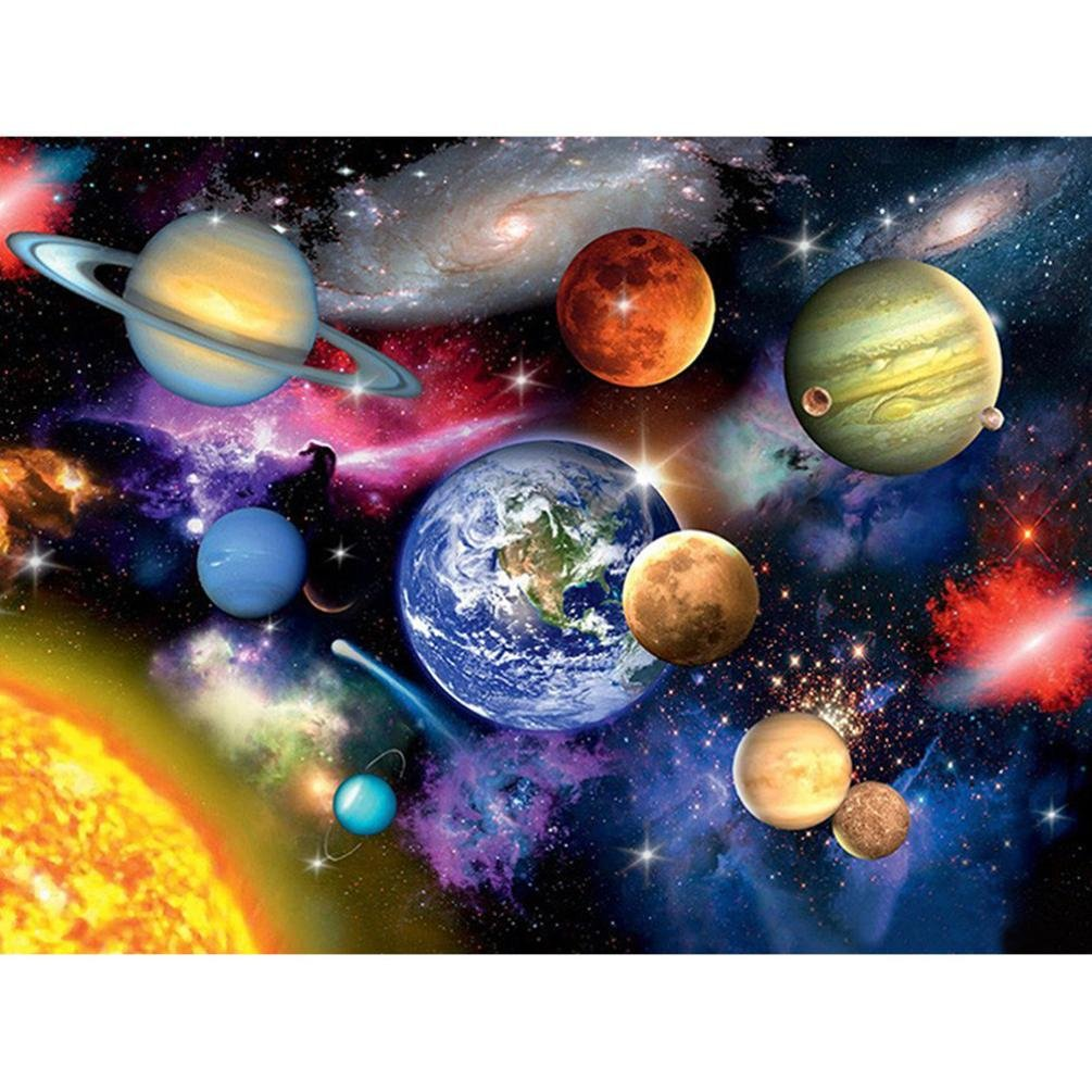 DIY 5D Diamond Painting Set Full Drill Beautiful Planet Pattern Resin Rhinestone Pasted Embroidery Cross Stitch for Home Decoration (30 * 40 CM) autumn-wind