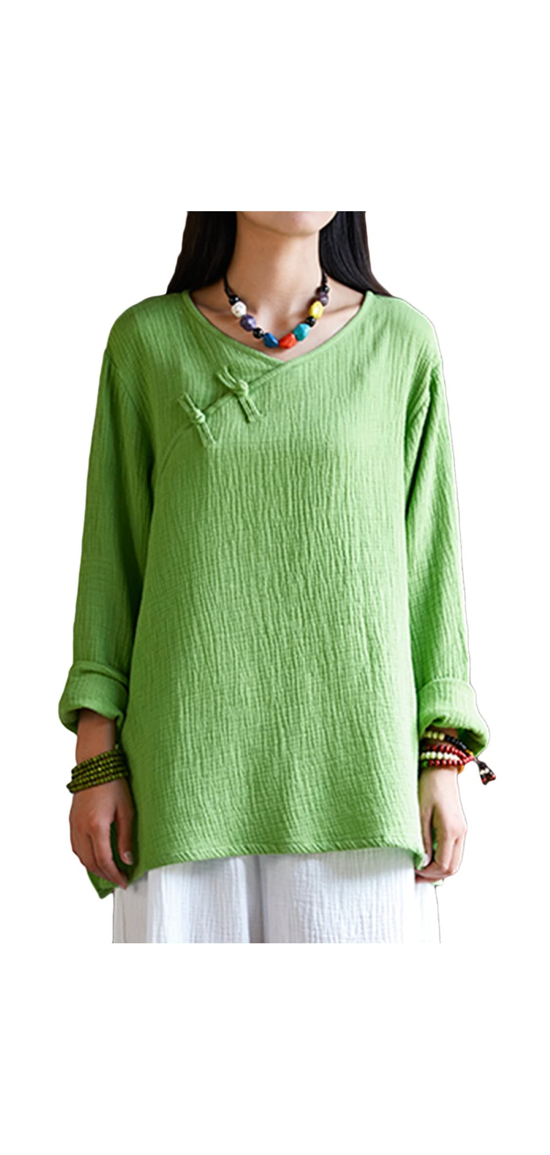 Women's Top,chinese Frog Button Tops Tees Loose Linen Blouse