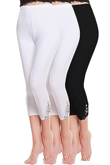 Vertvie Femme 3 4 Longueur Leggings Modal avec Bordure Dentelle Pantalon  Court Doux Extensible Taille 8a94df2ef86c