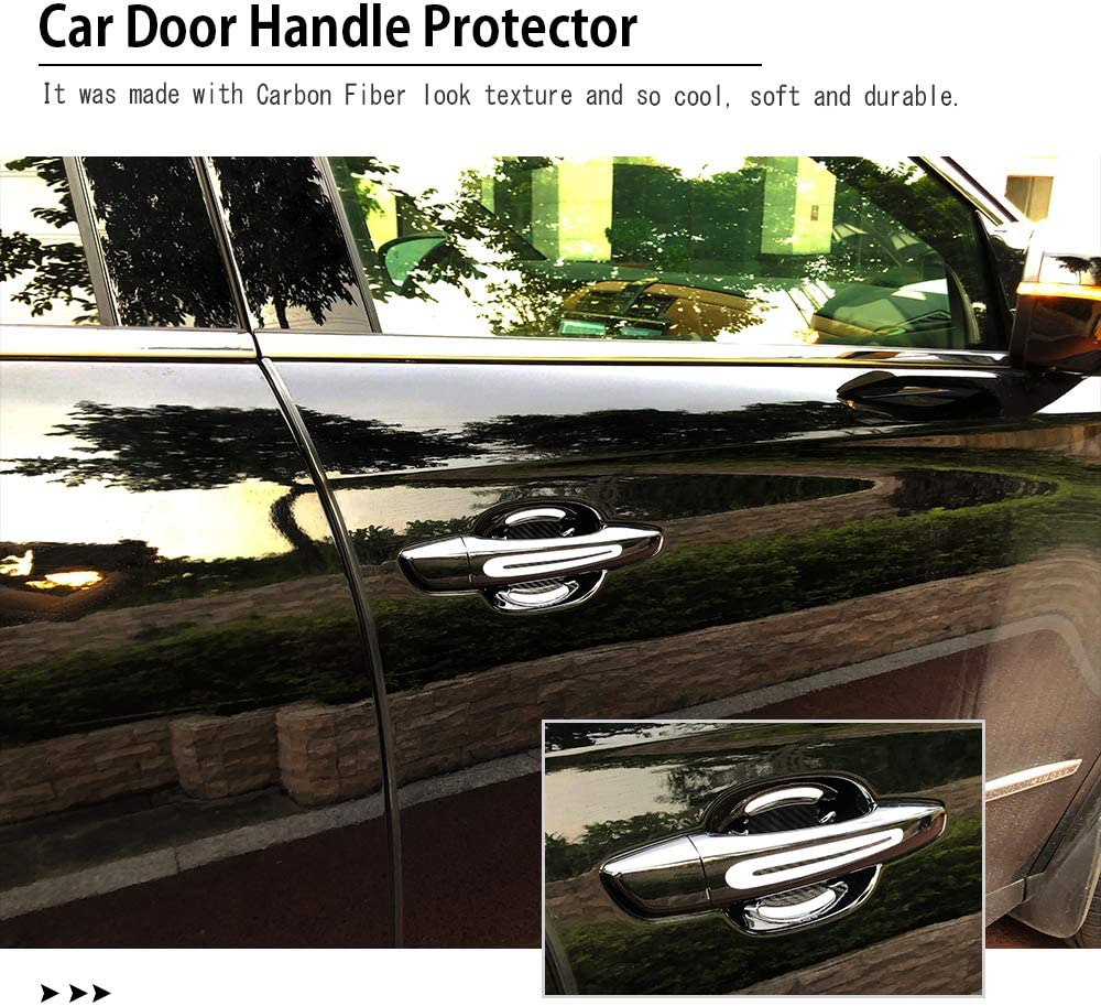 1797 Car Door Handle Cup Cover Scratch Protector Vehicle Accessories Paint Protection Protective Padded Film Pad Anti Fingernails Trim Stickers Decals Kit Parts Reflective Carbon Black Red 8 Pack