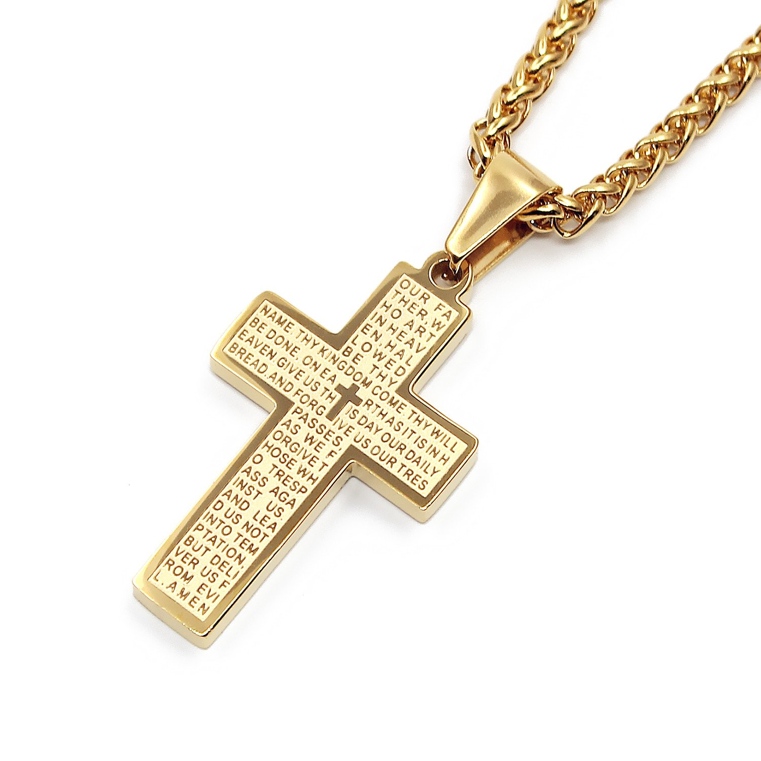 Mens Gold & Silver Stainless Steel Lord's Prayer Cross Pendant Necklace  Religious Jewelry 22 inches Chain