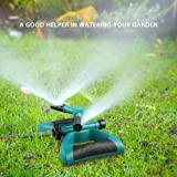 Lawn Sprinkler, Automatic 360 Rotating Adjustable Garden Water Sprinklers Lawn Irrigation System Covering Large Area with Leak Free Design Durable 3 Arm Sprayer, Easy Hose Connection