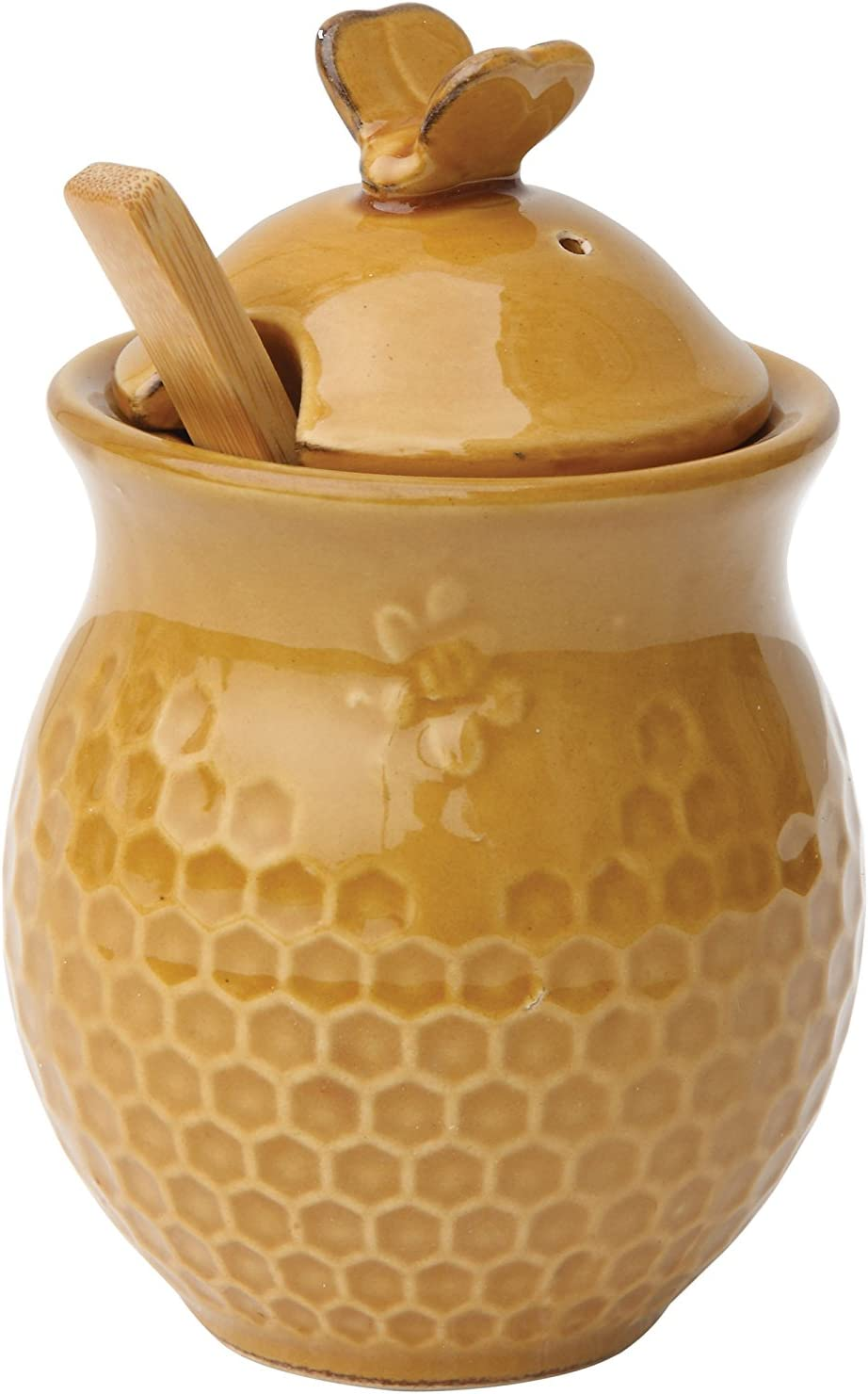 Creative Co-Op Small 3 Piece Yellow with Decorative Bees Stoneware Honey Jar with Lid & Wood Honey Dipper