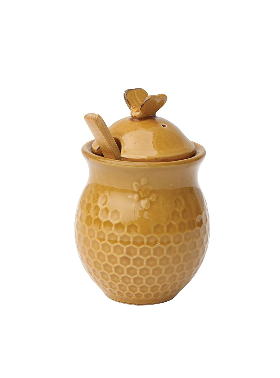 Creative Co-op Gold Stoneware Honey Jar with Wood Dipper, Yellow DA4848
