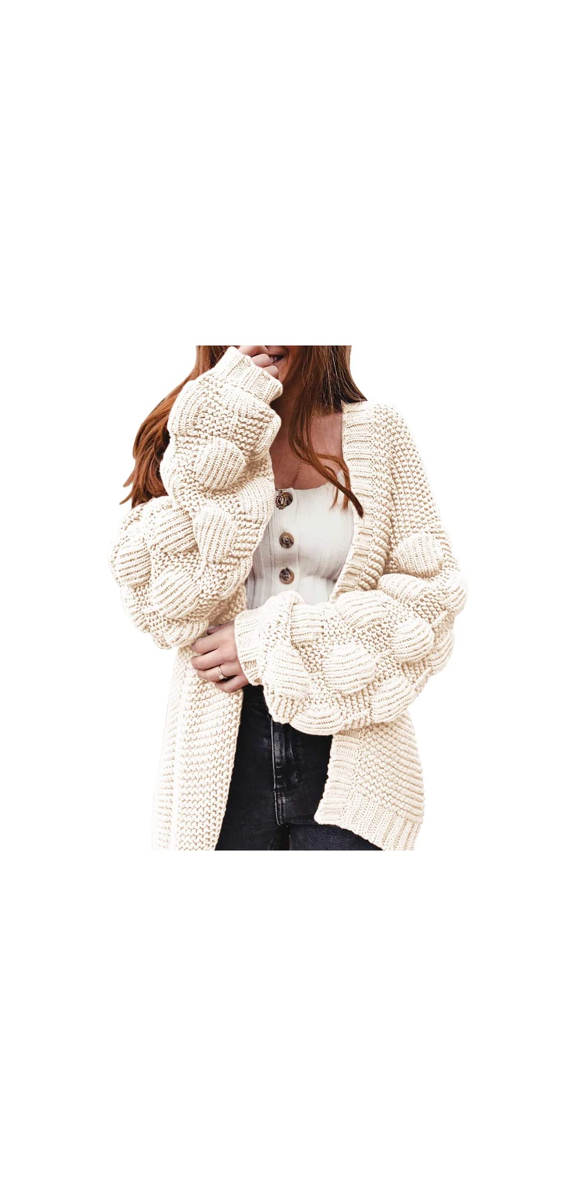 Women Oversized Cardigan Knitted Cute Chunky Sweaters Pom