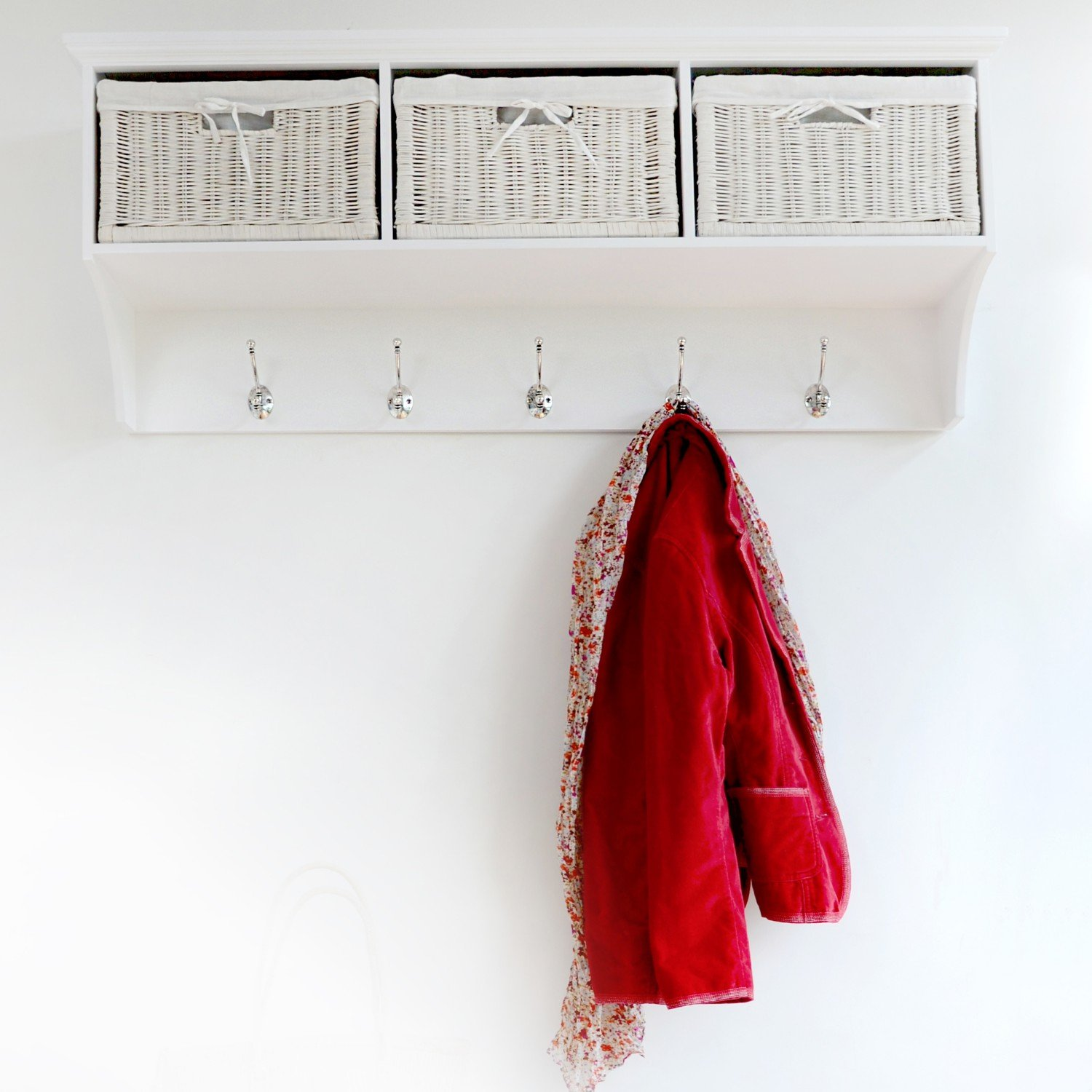 Tetbury Large White Coat Rack With Storage Baskets, FULLY ASSEMBLED:  Amazon.co.uk: Kitchen U0026 Home Good Looking