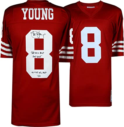 7bc8f856f Steve Young San Francisco 49ers Autographed Red Replica Mitchell   Ness Jersey  with Multiple Inscriptions -