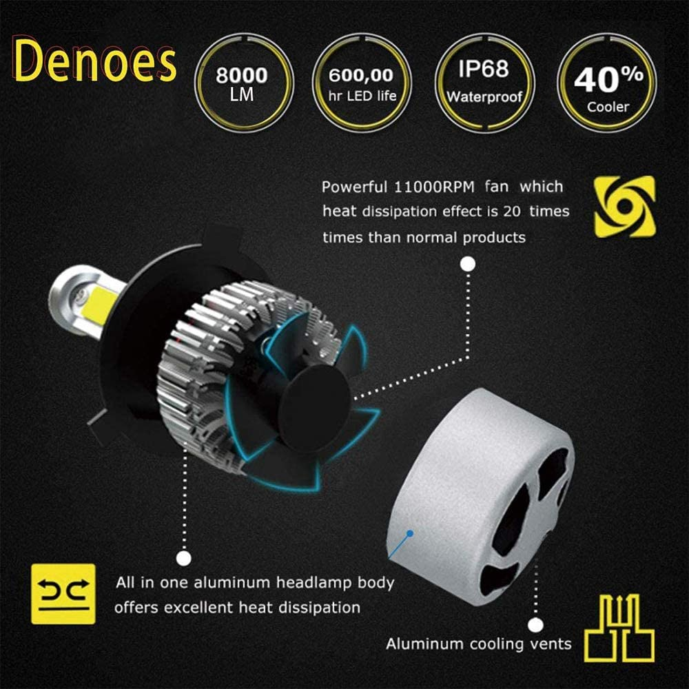 H4 LED Headlight bulbs 8000LM 6500K 64W Xenon White Extremely Bright 9003 HB2 Car Headlamp Bulbs Hi//Lo Beam Conversion Kit 2 Year Warranty Pack of 2