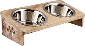 Pet Bowls Elevated Stand | Wooden Dog and Cat Bowls Elevated | Raised Pet Bowls for Cats and Dogs | Elevated Dog Cat Food and Water Bowls Stand Feeder with 2 Stainless Steel Bowls | Pet Feeder