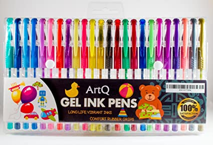 ArtQ Gel Pen Set of 24 Glitter/Neon/Metallic & Pastel Great Coloring   Draw  Sketch Doodle Art   Personalize Greeting Cards   Fun Creative Gift