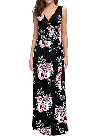 28d4699739f38 Women's Summer V Neck Floral Maxi Dress Casual Long Dresses with Pockets