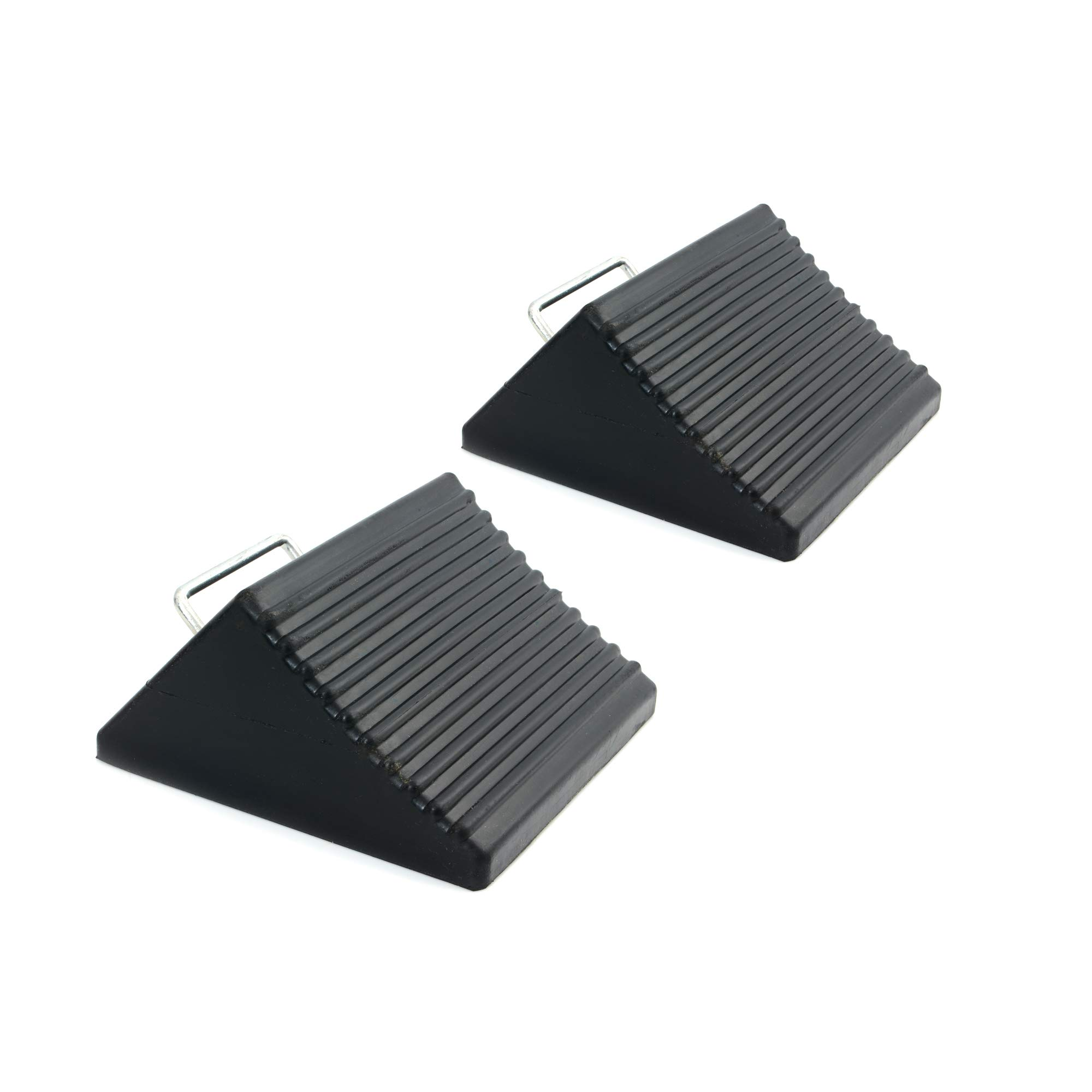 AFA Tooling Heavy Duty Rubber Set of 2 Wheel Chocks with Handle - Best Tire Block for Camper, Trailer, RV, Truck, Car and ATV