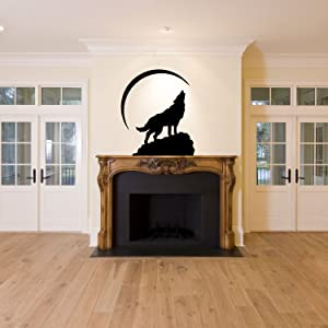 Newsee Decals Tribal Wolf Under Moon Wall Decor Decal Home Living Room Office Corp Wall Art Mural (Black)