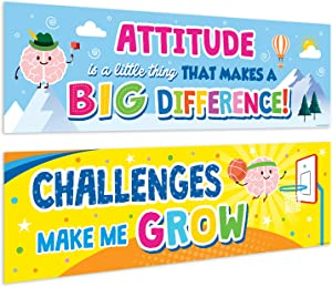 """Sweetzer & Orange Motivational Banners Growth Mindset Posters. """"Attitude Brain"""" Set of 2 Double-Sided Motivational Posters, Inspirational Posters, Quote Posters for School Classroom Decorations"""