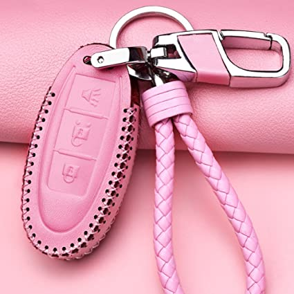 3 Button Womens Pink Leather Car Keyless Entry Remote Control Smart Key Fob Case Cover with Braided Key Chain /& Key Rings for Nissan Pathfinder Versa Juke 370Z Murano Rogue Accessories Gift