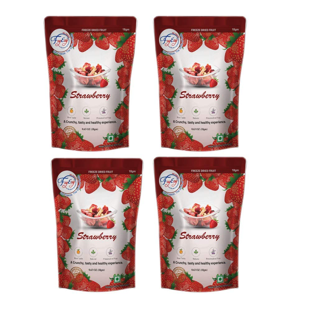 FZYEZY Natural Freeze Dried Strawberry Fruit for Kids and Adults|Camping Vegan Dried Healthy Fruits|Survival Food|Freeze-Dried Fruits Slices|Pantry Groceries dehydrated Snacks|Pack of 4 (18gm4) 72gm