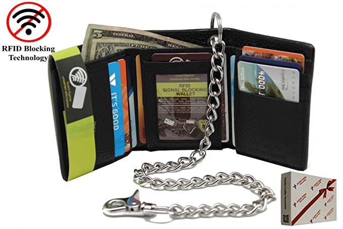Black Men/'s Genuine Leather Trifold Wallet with Chain Biker Trucker Motorcycle