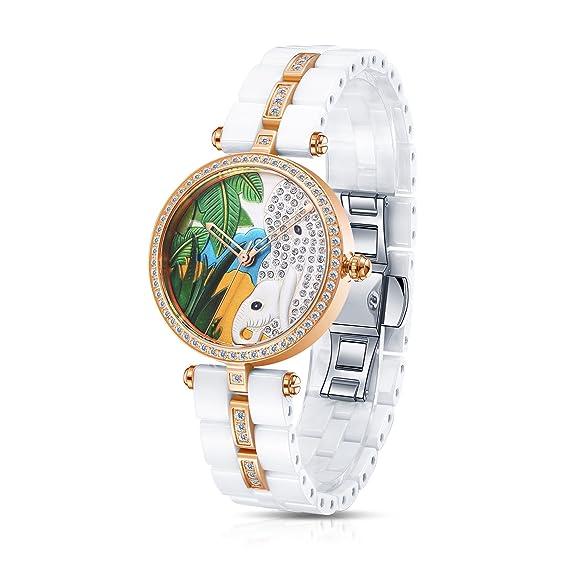 Time100 W50352L.08A Lujo Mujeres Joyería de diamante Correa de cerámica reloj de cuarzo mujer