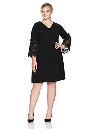 Tahari by Arthur S. Levine Women\'s Plus Size V Neck Shift Dress with Lace  Bell Sleeve Details