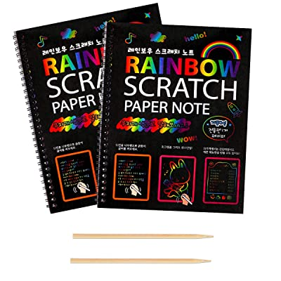Rainbow Scratch Art Booklet for Kids 2 Packs Perfect for DIY Kids Art Craft Project: Arts, Crafts & Sewing